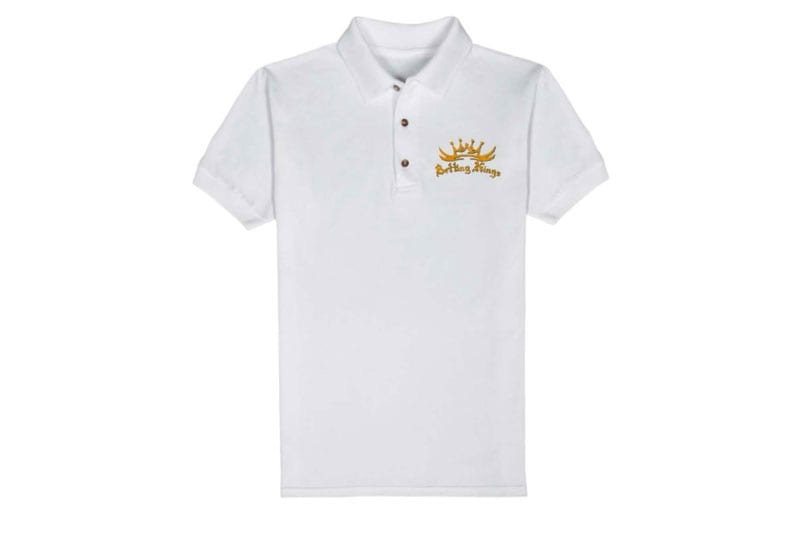 White Mens Polo Shirt With Orange Embroidered Logo Betting Kings